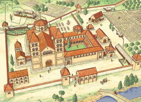 Romanesque Abbey. Model