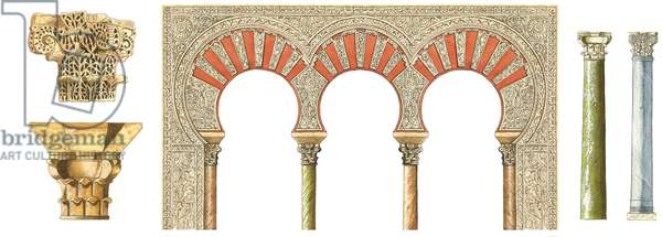 Spanish islamic caliphate art. Arches, capitals and columns