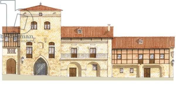 Traditional houses. Santillana del Mar, Cantabria, Spain