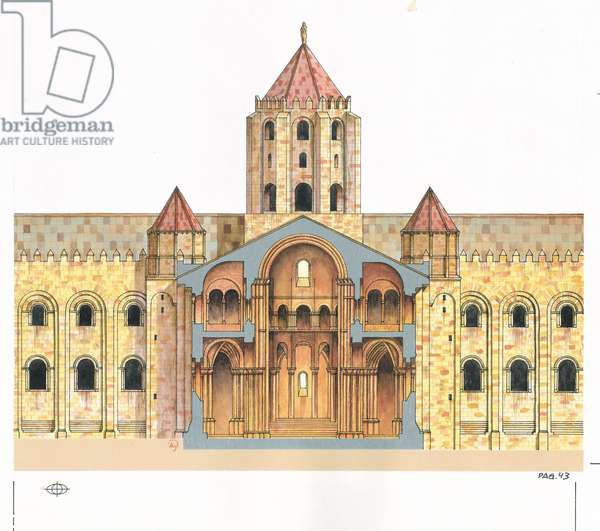 Santiago de Compostela Romanesque Cathedral.Cross section. Spain