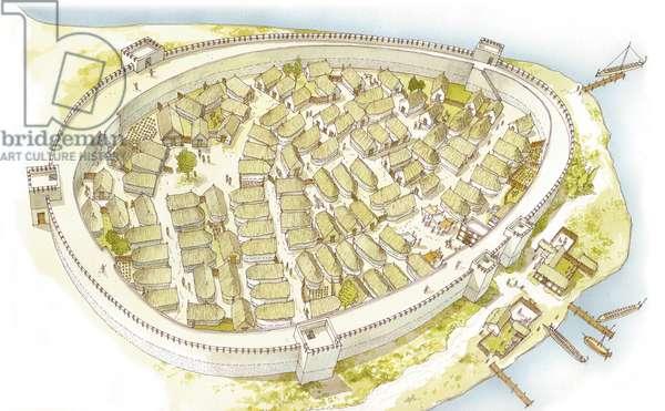 Greece. Polis (city) 8th century. Reconstruction