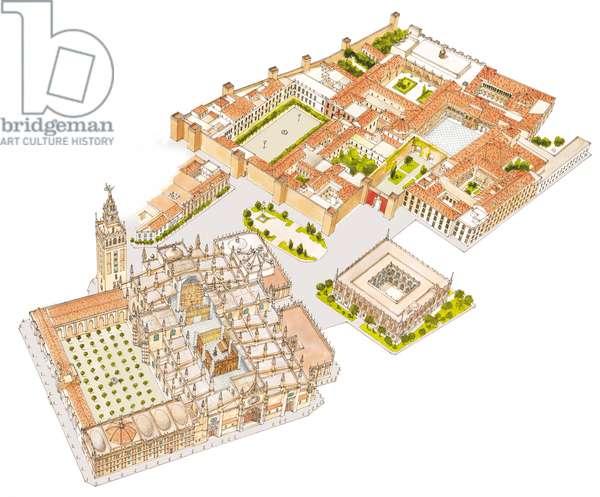 Cathedral, Reales Alcazares, Archivo de Indias. Sevilla, Spain