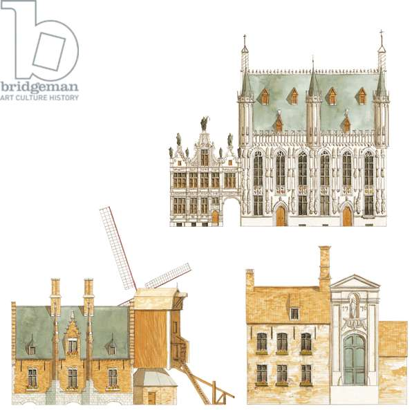 Bruges, Belgium. Town hall and traditional houses
