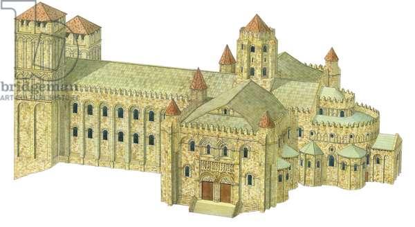 Santiago de Compostela Romanesque Cathedral. Reconstruction. Spain