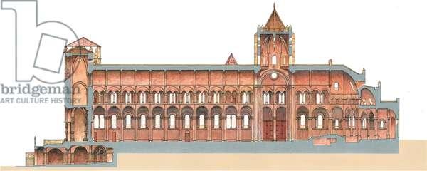 Santiago de Compostela, Romanesque Cathedral. Lenghtwise cut