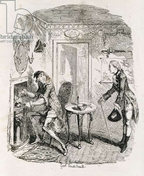 Captain Bath making Posset, from 'Amelia', engraved by the artist, illustration from 'The Works of Henry Fielding', pub. by Henry G. Bohn, 1853 (engraving)
