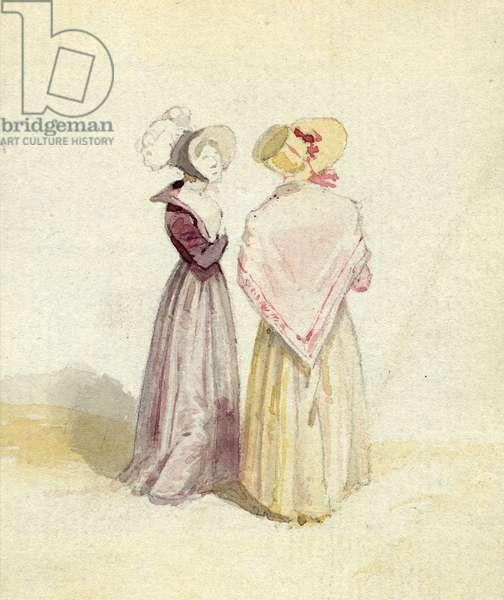 Two women in bonnets, c.1825 (w/c on paper)