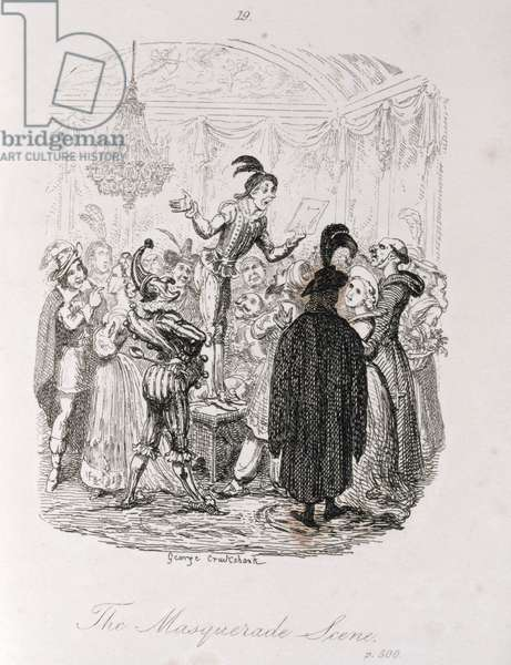 The Masquerade Scene, from 'Amelia', engraved by the artist, illustration from 'The Works of Henry Fielding', pub. by Henry G. Bohn, 1853 (engraving)