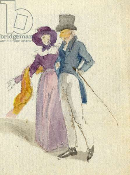 A couple strolling, c.1825 (w/c on paper)