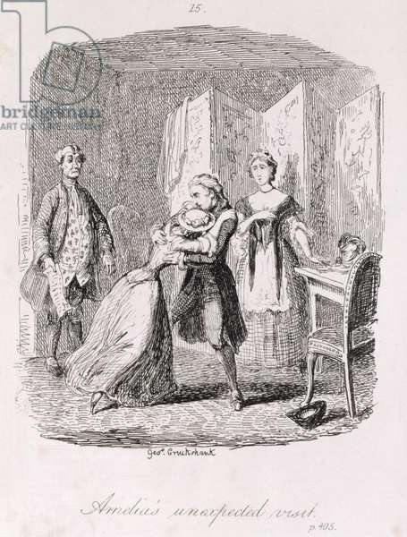Amelia's Unexpected Visit, from 'Amelia', engraved by the artist, illustration from 'The Works of Henry Fielding', pub. by Henry G. Bohn, 1853 (engraving)