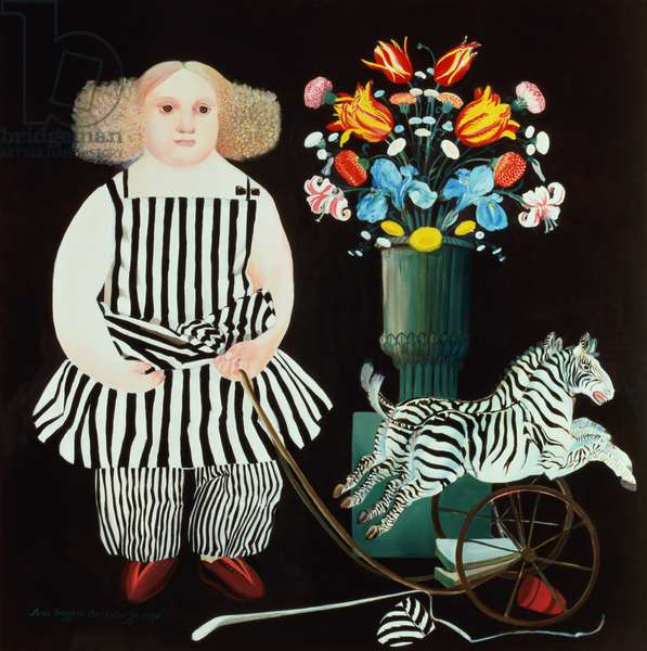 Zoe with her Toys, 1992 (oil on canvas)