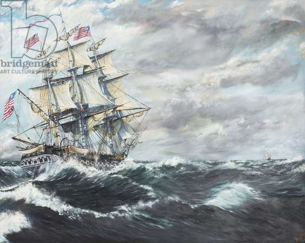 USS Constitution heads for HM Frigate Guerriere 19/08/1812, 2003, (Oil on Canvas)