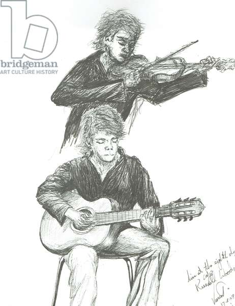 The Guitarist and violinist at 8th day cafe Manchester, 2007, (ink on paper)