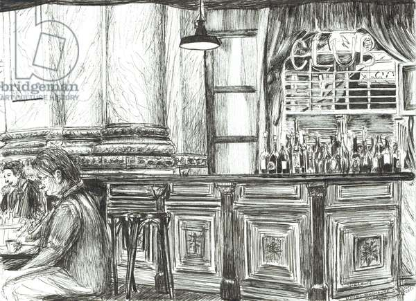 Cafe at the Royal Exchange, Manchester, 2011, ( ink on paper)
