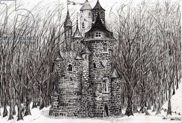 The Castle in the forest of Findhorn, 2006, (ink on paper)