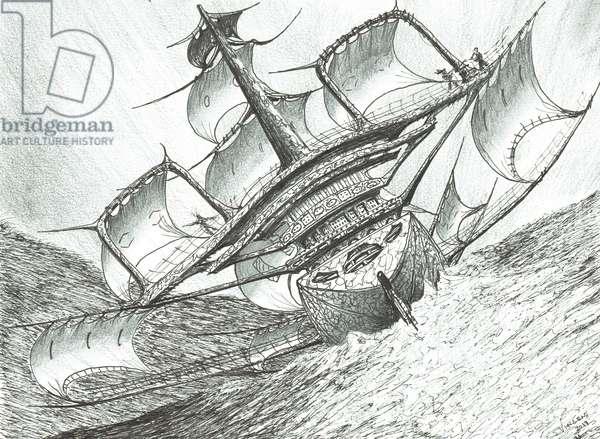 Storm Creators Risser-Larson Sea, 2017, (ink and pencil on Paper)