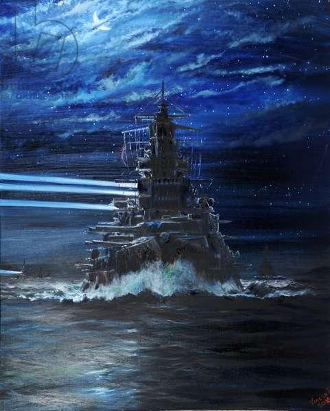 IJN Hiei and Akatsuki light up USS Atlanta, Guadalcanal 1942, 2018, (oil on canvas)