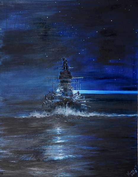IJN Kirishima  Guadalcanal 1942, 2018, (oil on canvas)
