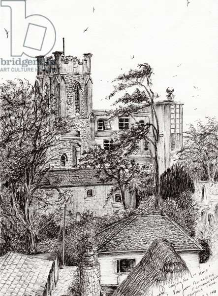 View from St Catherines school Ventnor I.O.W., 2011, (ink on paper)