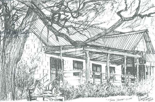 Yacht club at Lake Naivasha;Kenya; 2006; (ink on paper)
