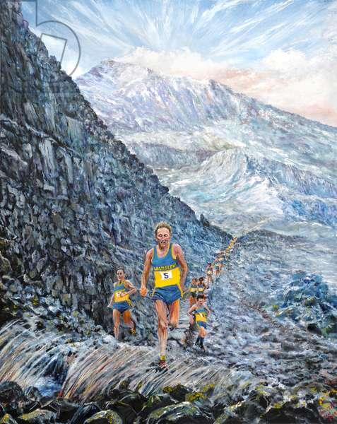 Snowdon run, 2019, (oil on canvas)