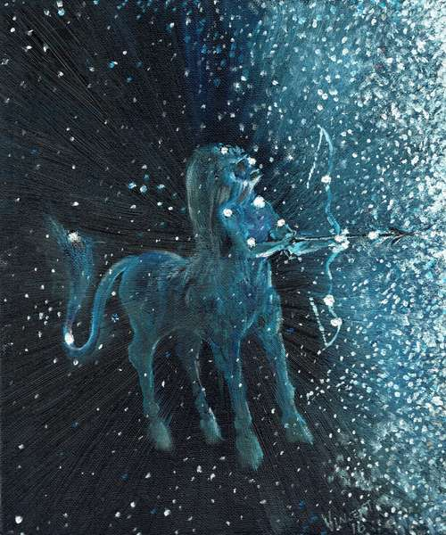 Star sign Sagitarius, 2016, (oil on canvas board)