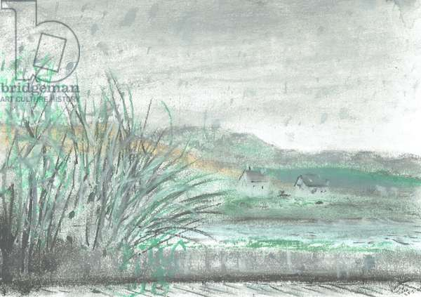 Isle of Jura in downpour, 2005, (pastels on paper)