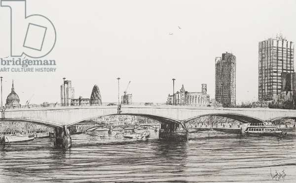 Waterloo Bridge London, 2006, (ink on Paper)
