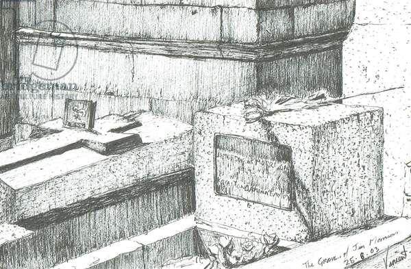 The grave of Jim Morrison Paris, 2003, (ink on paper)