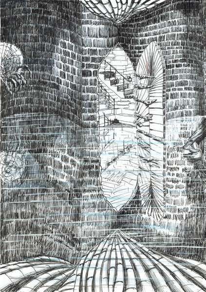 page23, The Castle in the Forest of Findhorn, 2006, (ink on paper)