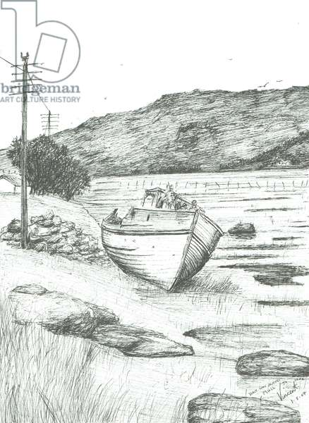 Half way across Isle of Mull, 2007, (ink on paper)