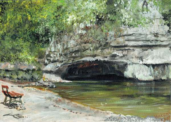 Resurgence of the river Douix-rue de la Douix, 2007 (acrylic on canvas board)