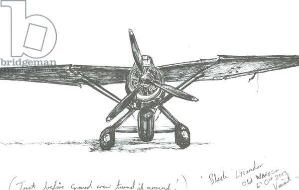 Lysander at Old Warden, 2012, (ink on paper)