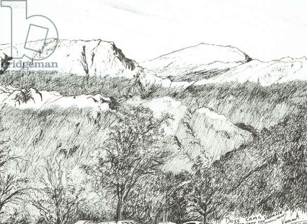 Dove Crag at Sunrise, 2003, (ink on paper)