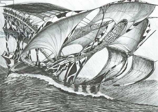 Storm Creators Tasman Sea, 2017, (ink and pencil on Paper)