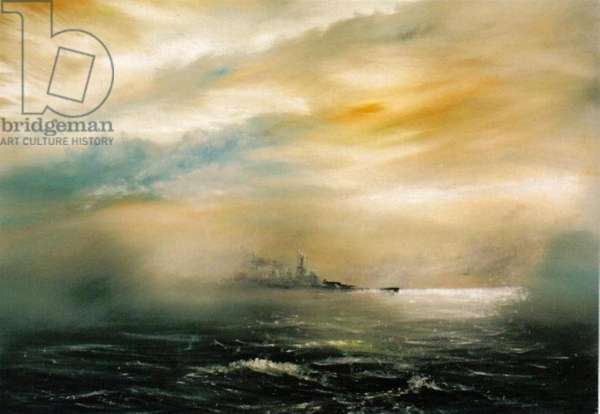 Dawn before the dawn of disaster HMS Hood 1941, 2012, (oil on canvas)