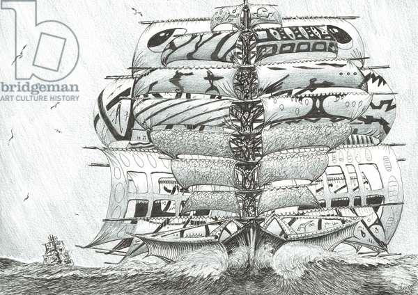 Storm Creators Mediterranean Sea, 2017, (ink and pencil on Paper)