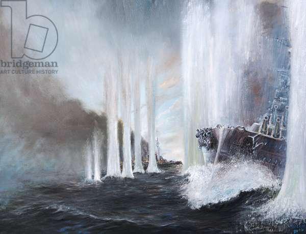 HMS Warspite circles HMS Warrior at Jutland, 31st May 1916, 2018, (oil on canvas)
