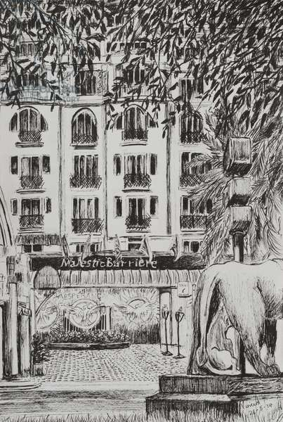 Majestic Hotel Cannes Film festival Fashion TV entrance, 2014, (ink on paper)