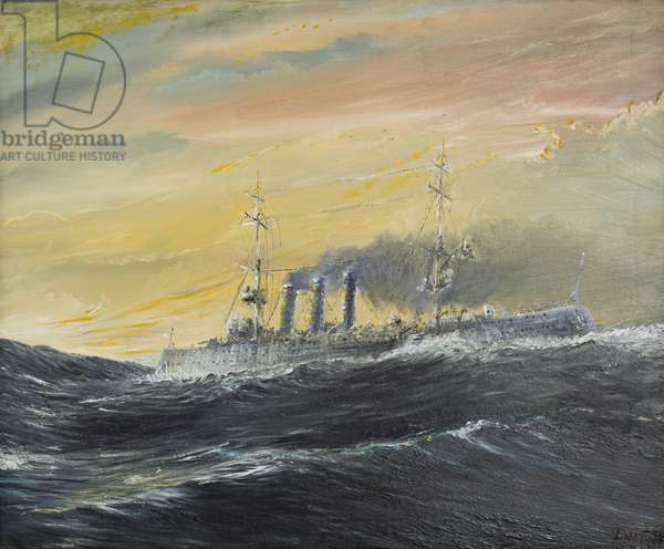 Emden rides waves of the Indian Ocean 1914, 2011 (oil on canvas)