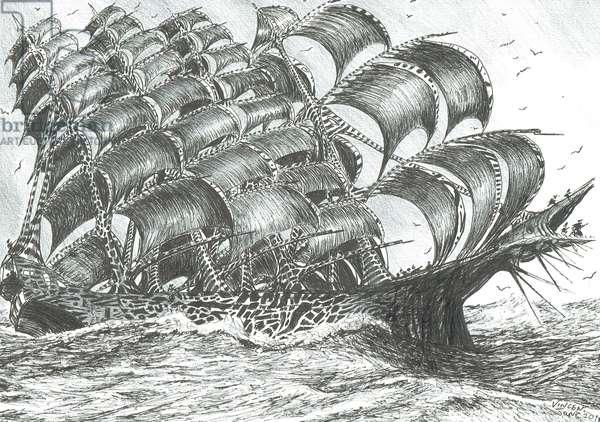 Storm creators Davis Sea, 2018, (ink and pencil on paper)