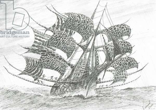 Storm Creators Norwegian Sea, 2020, (ink and pencil on paper)