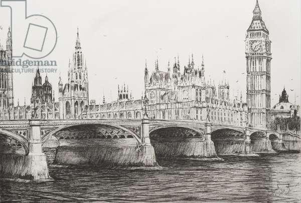 Westminster Bridge London, 2006, (ink on Paper)