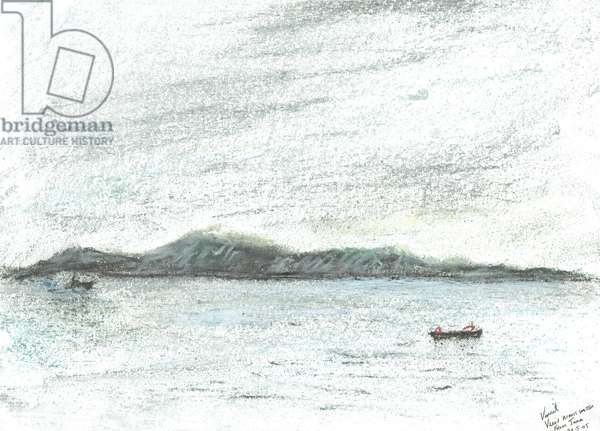 view across water from Jura, 2005, (pastels on paper)