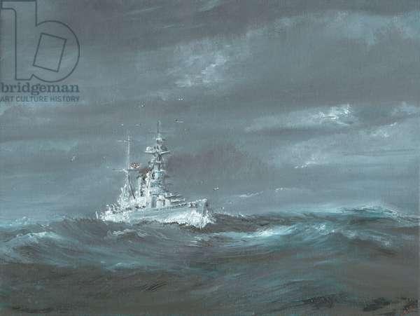 HMS Hood off Scotland coast 1920's, 2019 (oil on canvas board)