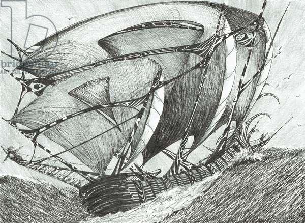 Storm creators Sea of Azov, 2017 (ink and pencil on paper)