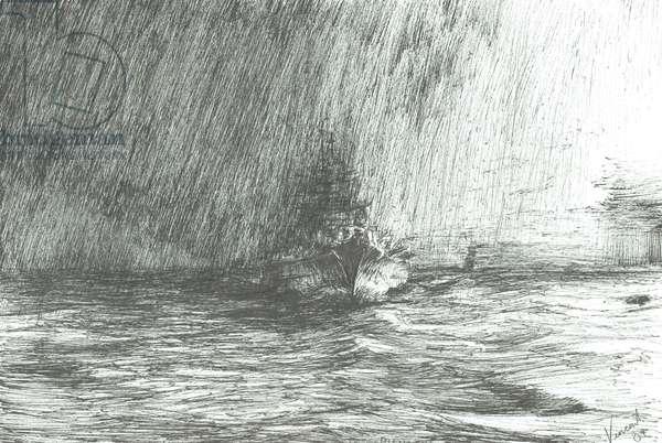 Tirpitz in Arctic waters 1943, 2009, (ink on paper)