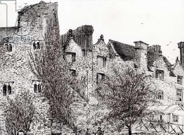 Castle ruin Hay on Wye, 2007, (ink on paper)