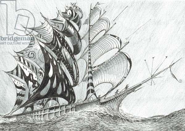 Storm Creators Caribbean Sea, 2017, (ink and pencil on Paper)