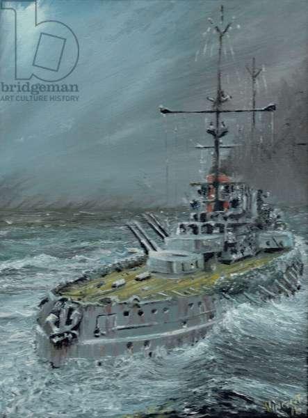 SMS Friedrich der Grosse at Jutland 1916, 2016, (oil on canvas board)